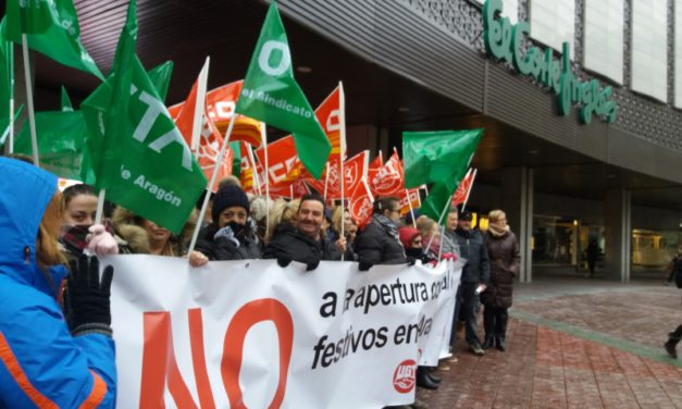 """Los sindicatos convocan una """"andada"""" contra la apertura de festivos y domingos del comercio en Aragón"""